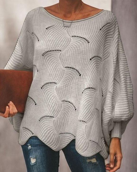 Solid Hollow Out Asymmetrical Hem Boat Neck Sweater gallery 6