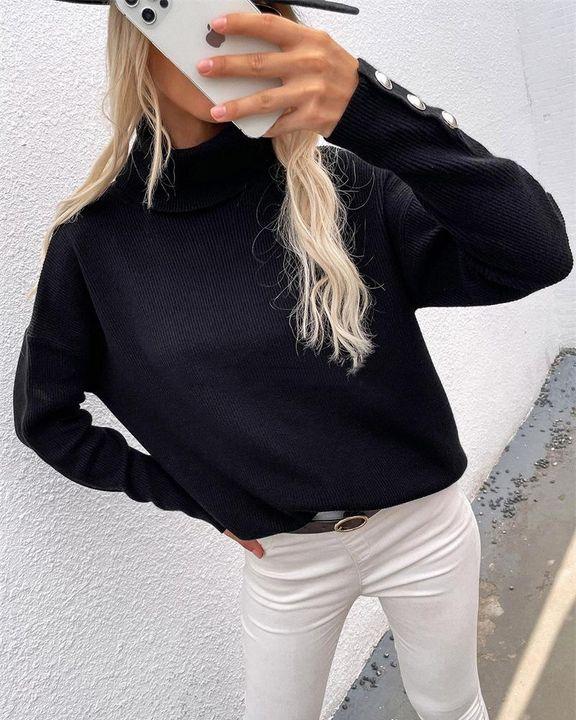Rib Knit Turtleneck Button Trim Drop Shoulder Sweater gallery 2