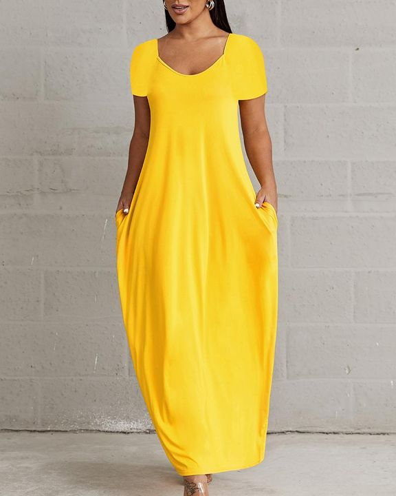 Solid Pocket Detail Maxi Dress gallery 3