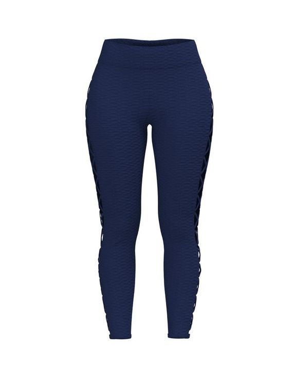 Lace Up Side Textured Ruched Sports Leggings gallery 7