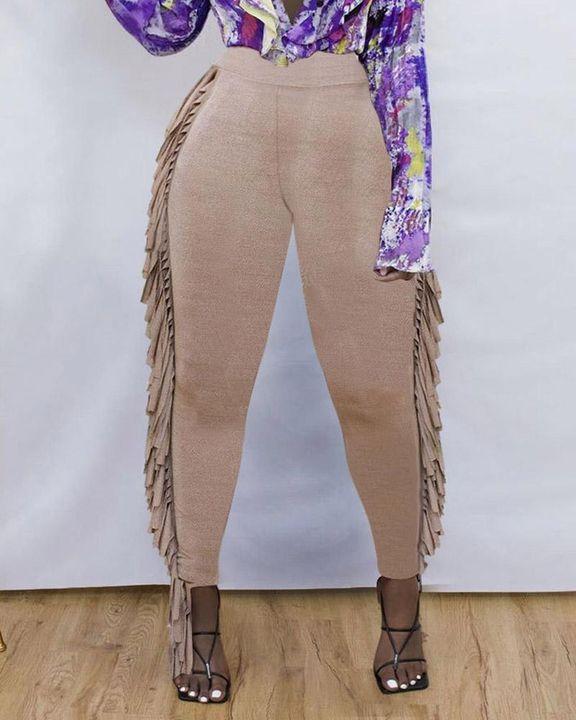Solid Fringe Trim Side Skinny Pants gallery 3