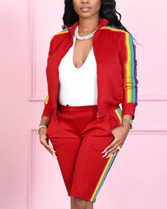 Rainbow Stripe Side Zip Up Collar Jacket Top & Shorts Set gallery 2