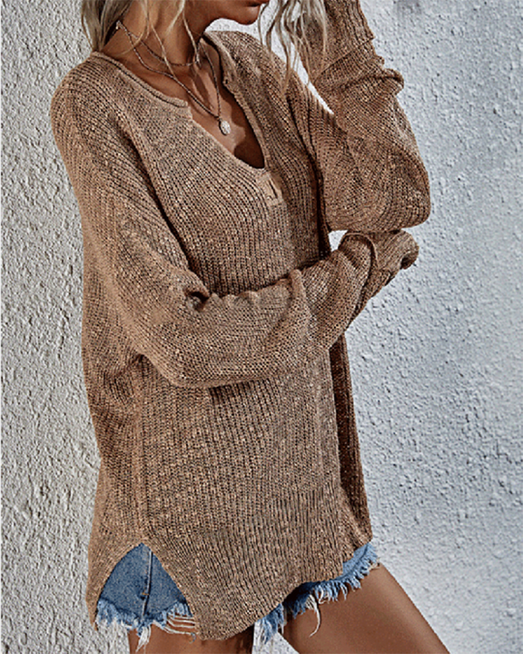 Chunky Knit V Neck Long Sleeve Sweater gallery 7