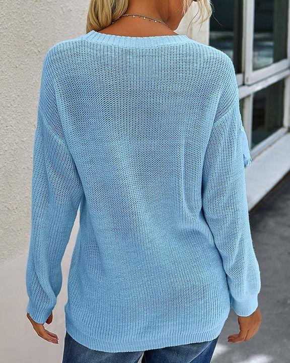 Solid Fringe Trim Drop Shoulder Sweater gallery 10