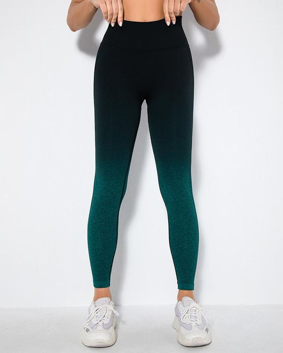 Ombre Space Dye Seamless Butt Lifting Sports Leggings gallery 8