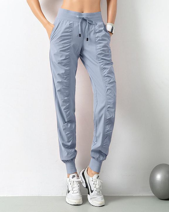 Quick Dry Drawstring Waist Ruched Front Sports Pants gallery 9