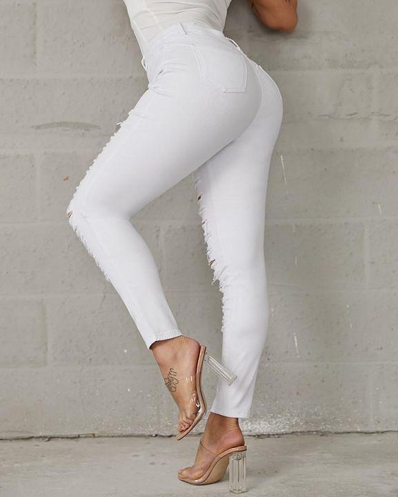 Plus High Waist Ladder Distressed Skinny Jeans gallery 11