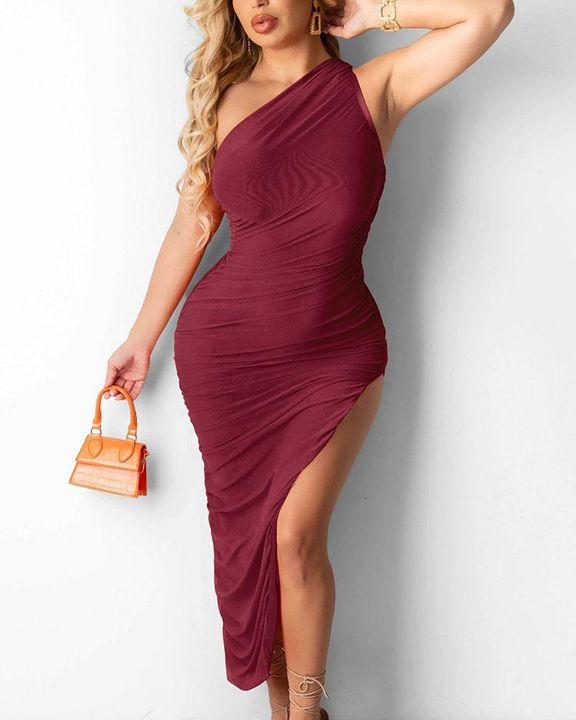 Solid One Shoulder Split Thigh Ruched Dress gallery 1