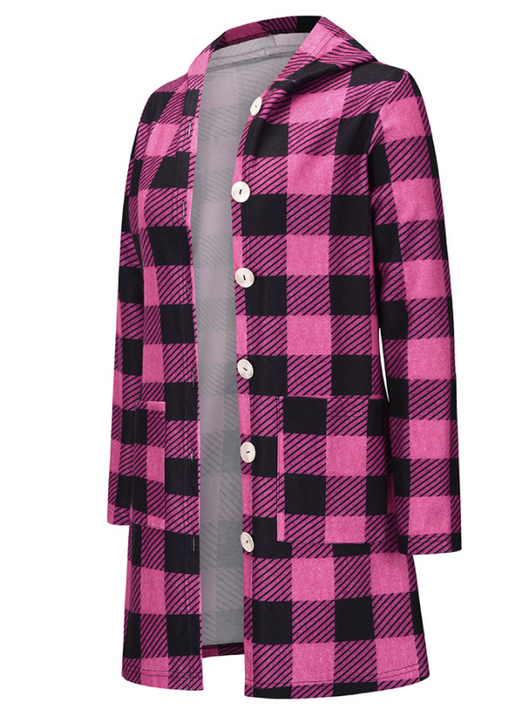 Gingham Button Through Pocket Front Hooded Coat gallery 5