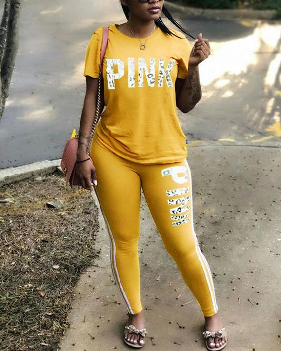 Letter Print Contrast Binding Round Neck Tee & Pants Set gallery 2