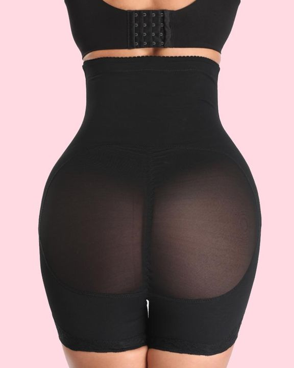 Solid Buckle Front High Waist Shapewear Shorts gallery 4