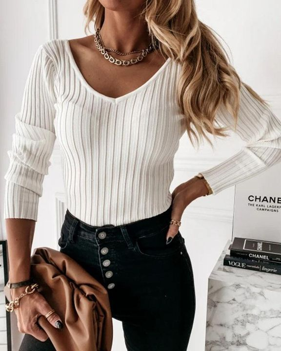 Solid Ribbed V Neck Sweater gallery 1