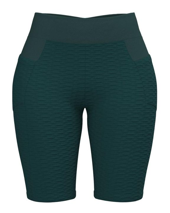 Textured Ruched Back Pocket Detail Sports Shorts gallery 9