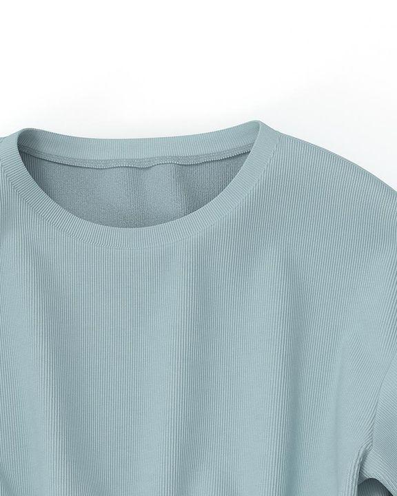 Solid Ribbed Long Sleeve Crop Top & Pants Set gallery 22