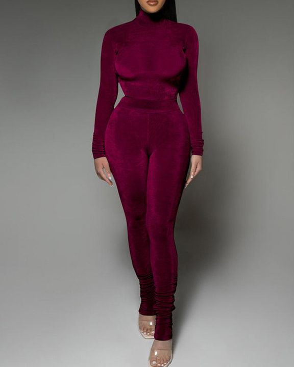 Solid Velvet Form Fitted Top & Pants Set gallery 3