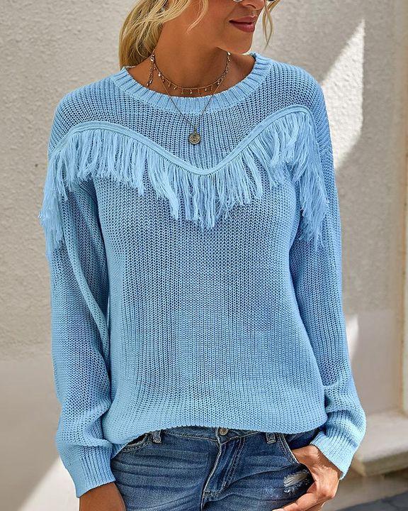 Solid Fringe Trim Drop Shoulder Sweater gallery 3