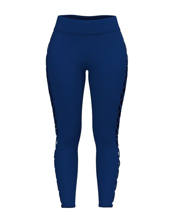 Solid Textured Criss Cross Hollow Out Sports Leggings gallery 2