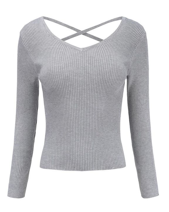 Ribbed Knit Criss Cross Back Bodycon Sweater gallery 6