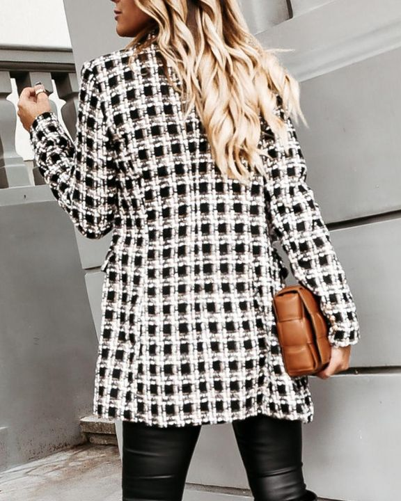 Houndstooth Double Breasted Lapel Neck Coat gallery 14