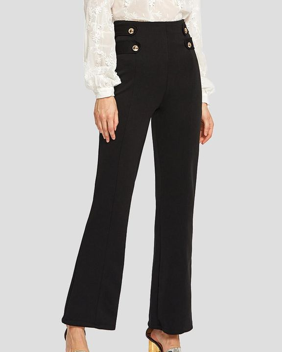 Solid Studded Button Decor Wide Leg Pants gallery 2