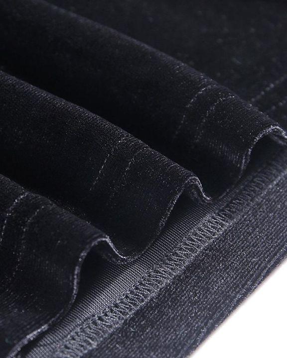Velvet Split Hem Long Sleeve Qipao Style Dress gallery 8