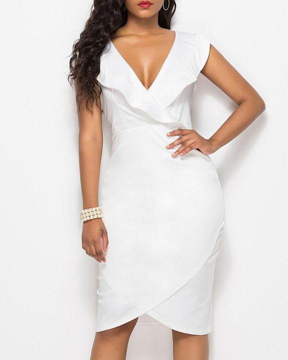 Solid Ruffle Trim Ruched Wrap Asymmetrical Hem Knee Length Dress gallery 7