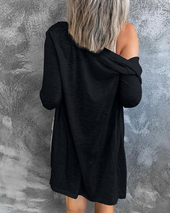 Solid Single Breasted Open Front Cardigan gallery 6
