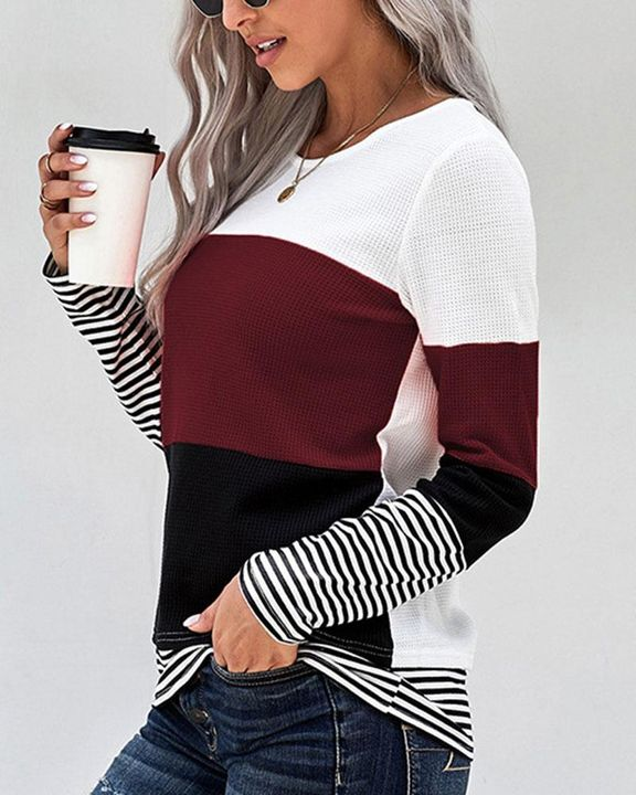 Colorblock Striped Print Round Neck Sweater gallery 6