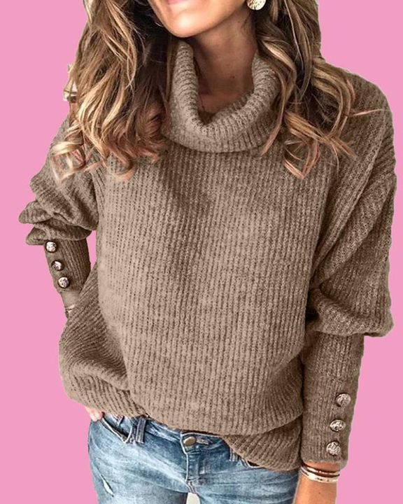 Solid Button Detail Ribbed High Neck Sweater gallery 8
