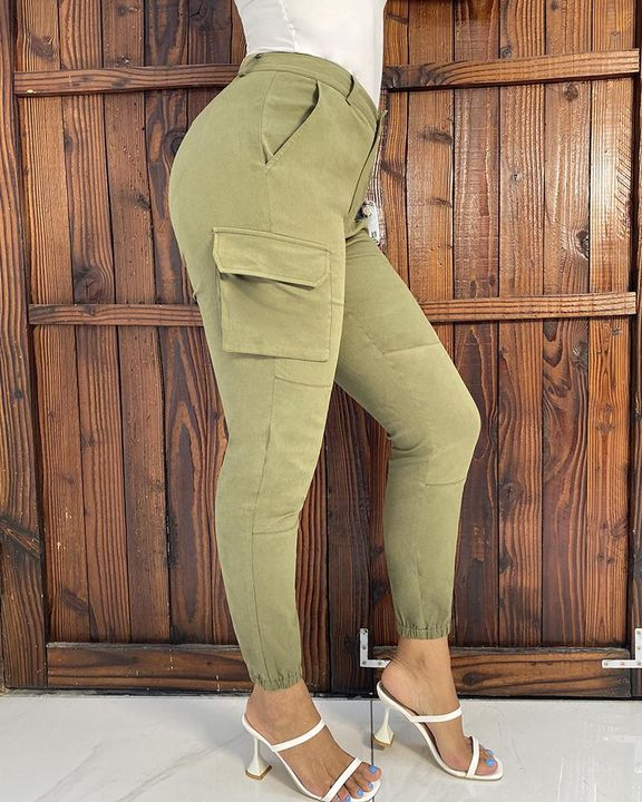 Solid Pocket Detail Belted High Waist Pants gallery 4