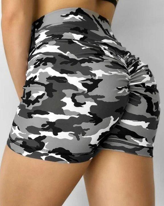 Camo Print Scrunch Butt High Waist Sports Shorts gallery 1