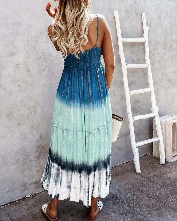 Tie Dye Metallic Tassel Knot Frill Trim Cami Long Dress gallery 5
