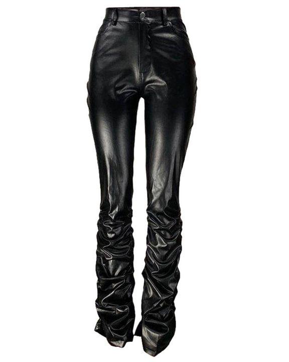 High Waist Slant Pocket Stacked PU Pants gallery 5