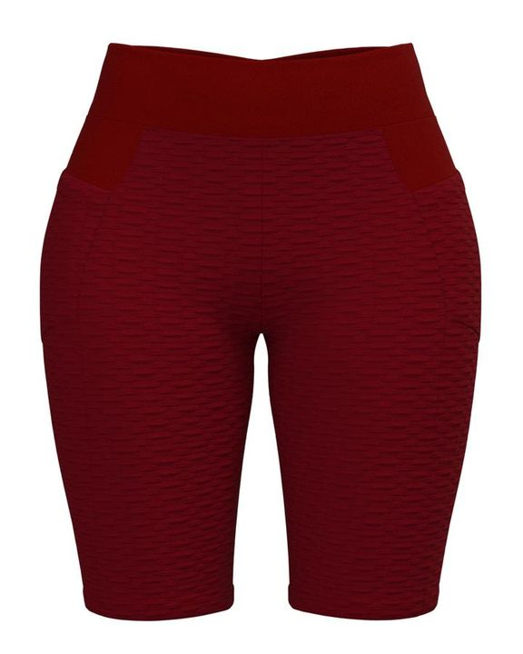 Textured Ruched Back Pocket Detail Sports Shorts gallery 8