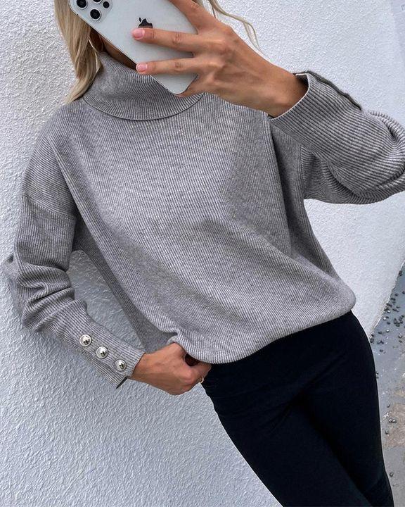 Rib Knit Turtleneck Button Trim Drop Shoulder Sweater gallery 5