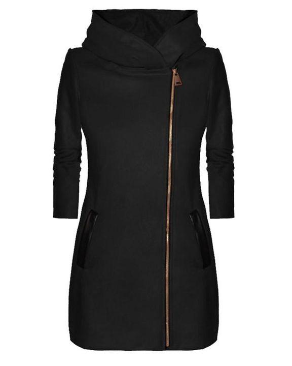 Zip Up Front Pocket Detail Hooded Coat gallery 6