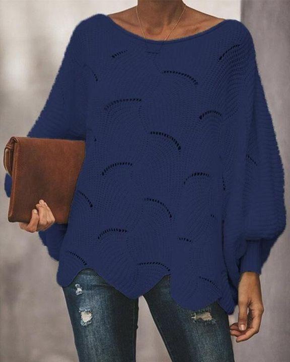 Open Knit Lantern Sleeve Scallop Hem Oversized Sweater gallery 6