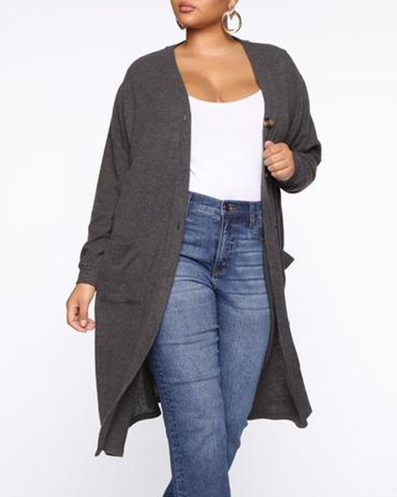 Open Front Dual Pocket Button Decor Cardigan gallery 4