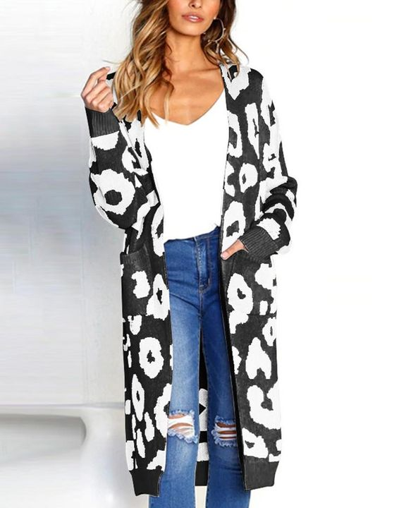 Leopard Print Patch Pocket Open Front Cardigan gallery 2