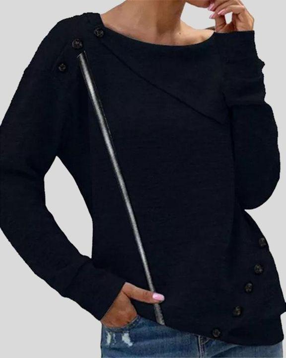 Striped Button Decor Drop Shoulder Sweater gallery 2