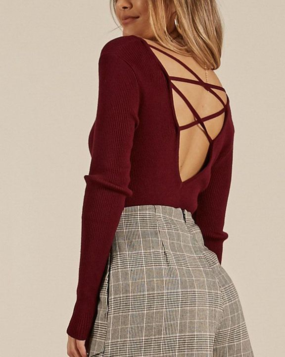 Ribbed Knit Criss Cross Back Bodycon Sweater gallery 10