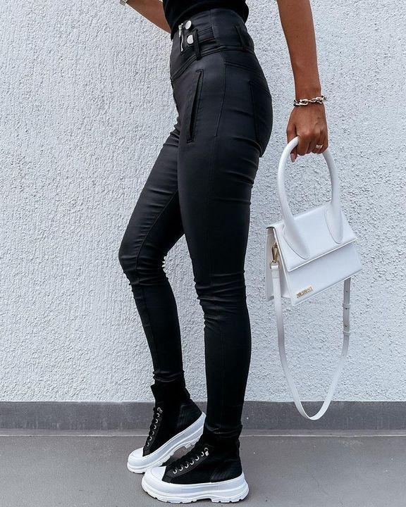 Zipper Front Studded Button High Waist PU Pants gallery 4