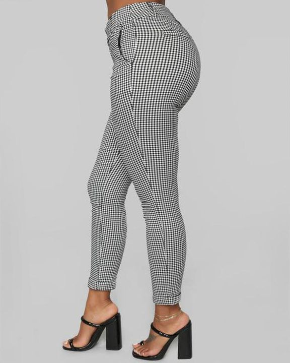 Plaid Cuff Ankle Zip Front Pants gallery 3