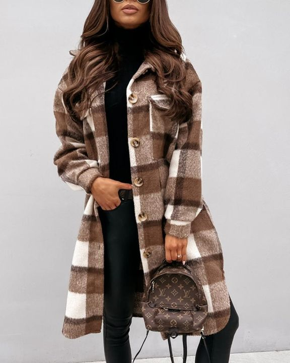 Plaid Print Patch Pocket Button Up Teddy Coat gallery 3