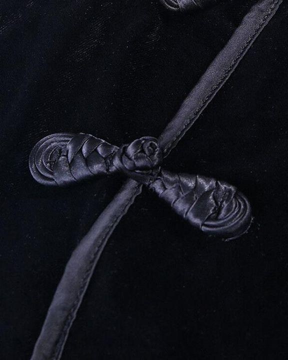 Velvet Split Hem Long Sleeve Qipao Style Dress gallery 5