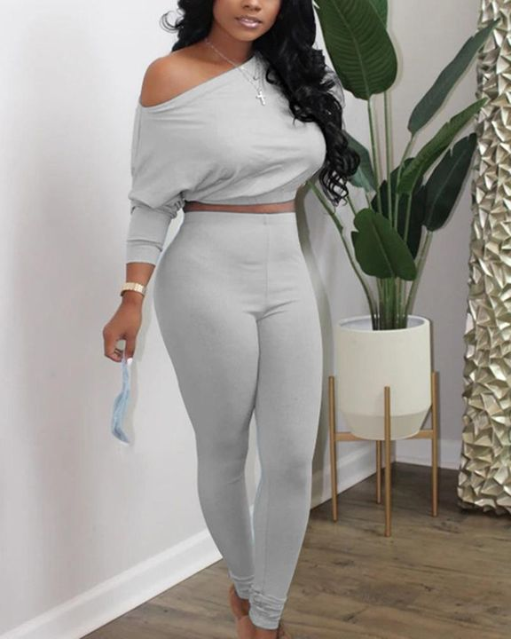 Solid Drop Shoulder Long Sleeve Top & Pants Set gallery 2