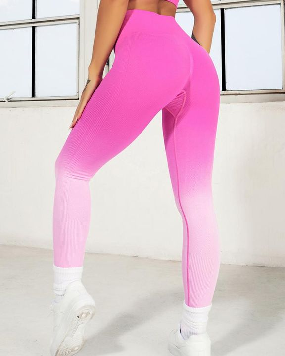 Ombre Wide Waistband Butt Lifting Sports Leggings gallery 11