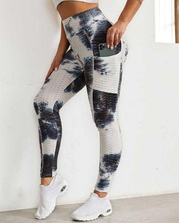 Tie Dye Textured Pocket Side Sports Leggings gallery 3
