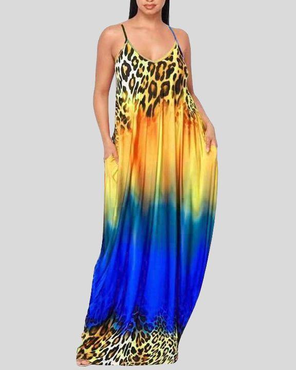 Ombre Leopard Print Cami Maxi Dress gallery 5
