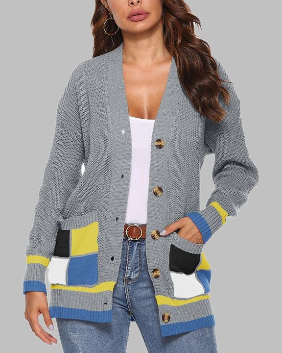 Colorblock Open Front Pocket Detail Button Trim Cardigan gallery 4